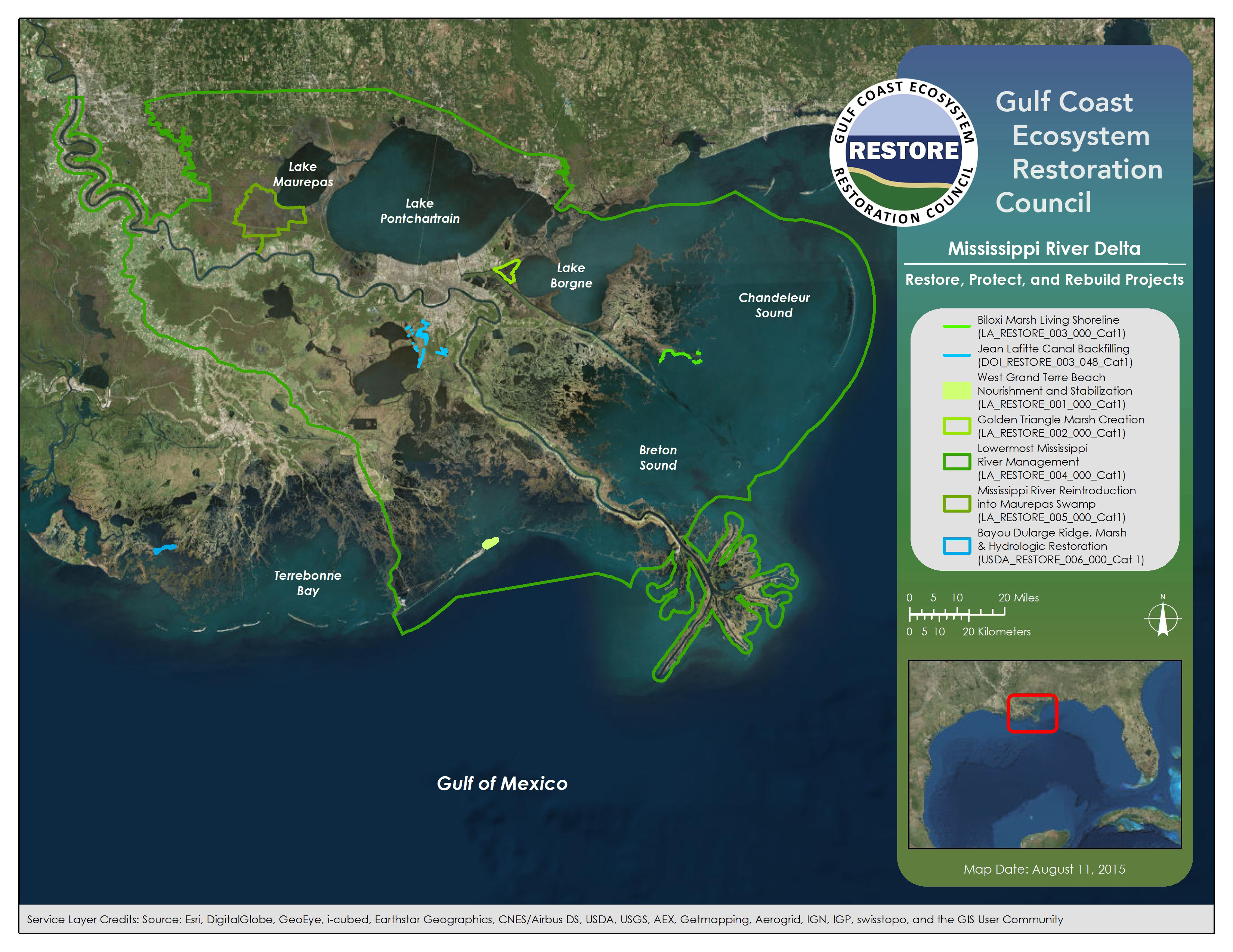 Draft Initial Funded Priorities List Restore The Gulf - Mississippi river delta map